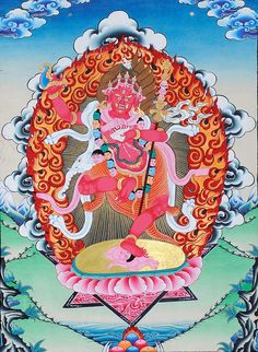 The Female Buddha Vajravarahi, Thangka Tibetan Thangka Painting Buddha Kunst, Buddha Art, Tibet Art, Vajrayana Buddhism, Thangka Painting, Tibetan Buddhism, Psychedelic Art, Asian Art, Artwork