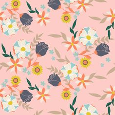 Wildflower pink fabric by >>mintpeony<< on Spoonflower - custom fabric