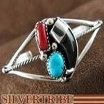 Navajo Jewelry Turquoise Coral and Badger Claw Silver Bracelet