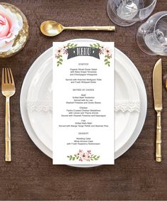 Menu - White - DIY Wedding Menu - Rustic Wedding - DIY Menu - 4x8 Menu - Bridal Shower Menu - Printable Menu - Country Bloom DIY Wedding by CreativeUnionDesign on Etsy https://www.etsy.com/listing/278286906/menu-white-diy-wedding-menu-rustic