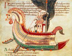 Viking Ship / Anglo-Saxon Illumin./ C11 Anglo-Saxon manuscript illumination, c. 1025–1050.  Viking ship of war.
