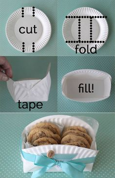 DIY Cookie Basket Made From A Paper Plate make it mine -  use a decorative paper plate, turning it over to make the cuts, so when you fold it the  decorative  pattern is on the outside. Wrap with clear plastic food wrap and add a bow.