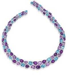 Cellini Aurora Collection Amethyst and blue topaz in oval and pear shapes are set among round brilliant white diamonds, in white gold - Cellini Jewelers Purple Jewelry, Gems Jewelry, High Jewelry, Jewelry Accessories, Jewelry Necklaces, Women Jewelry, Amethyst Jewelry, Jewlery, Saphir Rose