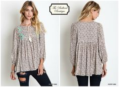 Ivory floral, embroidered top. www.theballardboutique.com