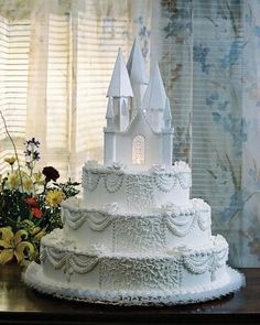 We have castle wedding cakes, Cinderella wedding cakes, and many elegant and whimsical wedding cakes to see. We hope you find the perfect wedding cake for your fairy tale wedding. Beautiful Wedding Cakes, Gorgeous Cakes, Pretty Cakes, Castle Wedding Cake, Castle Birthday Cakes, Castle Cakes, Cinderella Wedding, Princess Wedding, Cinderella Castle