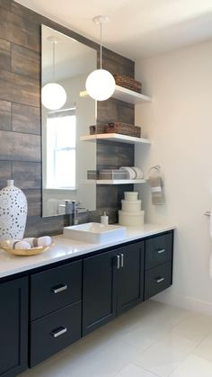 Home Room Design, Bathroom Interior Design, Living Room Designs, Kitchen Design, Bathroom Designs, Floating Cabinets, Floating Shelves, Pool Diy, Farmhouse Kitchen Decor