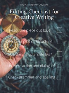 """Free printable editing checklist by Radiate Literary Journal. The """"Always Explore"""" theme will remind you to try new things when you write, and add some color to your favorite writing nook. Editing Checklist, Grammar Check, Free Poster Printables, Creative Writing, Submissive, Nook, Journal, Lettering, Explore"""