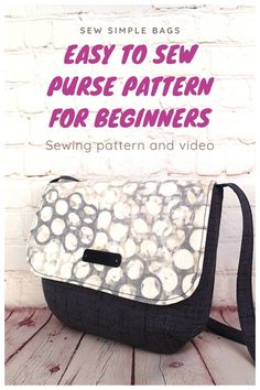 The Oxford Purse sewing pattern is an easy to sew DIY shoulder bag for beginners. This lightweight everyday bag can be worn on the shoulder, at the waist or hip, or as a crossbody bag. The easy bag sewing pattern for beginners come with step by step photo instructions and a full sewalong video tutorial that beginners will love. This purse has darts and closes with a magnetic snap. Pocket on the inside. Beginner Sewing Patterns, Sewing For Beginners, Handbag Patterns, Bag Patterns To Sew, Simple Bags, Easy Bag, Craft Projects For Adults, Craft Ideas, Pouch Pattern