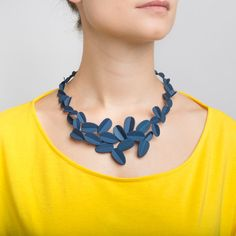 Hand-dyed 3D printed nylon nature-inspired necklace that is part of Maison 203's Leaves collection designed by Giorgia Zanellato.