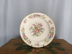 Floral Plate White Pink Red Roses Vintage Distressed Shabby