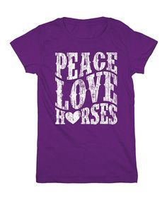 'Peace Love Horses' Fitted Tee