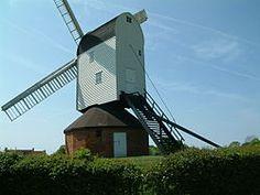 Mountnessing windmill.jpg Post mill built 1807 in Essex, UK, restored,  photo taken in 2007.