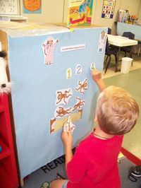 add felt to back of shelf to make kid-friendly felt board story in book center.