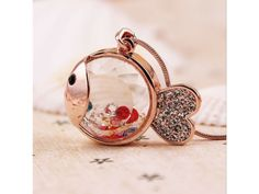 Rose #Gold Crystal Fish Pendant #Necklace with Colorful #Rhinestones