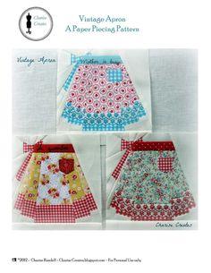 Patroon vintage schort.  Hoi! Ik heb een geweldige listing gevonden op Etsy http://www.etsy.com/nl/listing/162694679/vintage-apron-paper-pieced-pattern