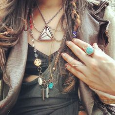 Free People accesories, jacket, bralette and tanktop #boho #fashion #freepeople #style #fpme #jewelry #necklaces #rings