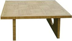 "Bamboo Parquet Coffee Table by Universal Lighting and Decor. $437.91. 20"" high.. Bamboo parquet.. 50"" wide.. Hardwood construction.. 33"" deep.. This attractive coffee table design from the Wayborn Furniture collection has a fresh contemporary look with a cool wood pattern bamboo parquet design. The bottom side panels have unique cut circle features.. Save 34%!"