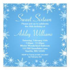 Modern Winter Wonderland Sweet 16 Birthday Party Custom Invite