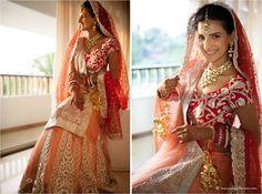 Red and Coral Lehenga #bride #polki #maangtikka #lehenga #bridallehenga #gorgeous #wedmegood