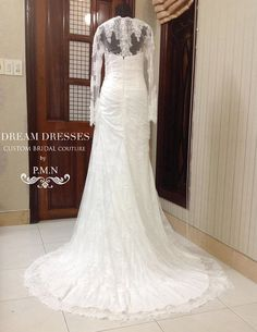 Lace Overlay Trumpet Wedding Dress with by DreamDressesByPMN $1,400
