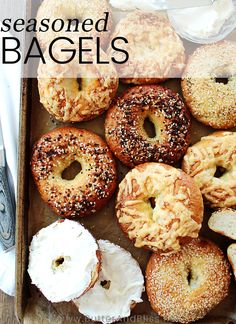 This recipe for Homemade Bagels is easy, and includes tips for making great bagels at home! Top with any seasoning and flavor you like! Bagel In A Hole, Yeast Packet, Homemade Bagels, Bagel Recipe, Butter, Thing 1, Oven Racks, Dry Yeast, Eating Plans