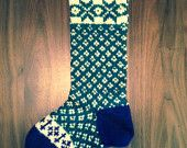 Hand knit Christmas stocking: Wintry