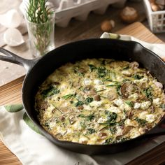 Goat, Cheese, Mushroom, and Spinach Frittata - Taste of the South (turnip greens instead of spinach) Spinach Frittata, Spinach Egg, Frittata Recipes, Tacos, Tostadas, Kitchen Recipes, Cooking Recipes, Healthy Recipes, Savoury Recipes