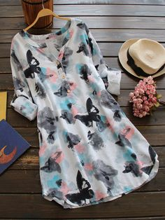 Ink Printed V Neck Buttons Long Sleeve Shirt Dress