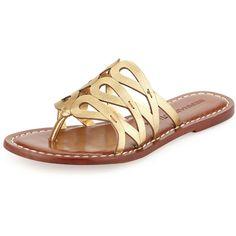 Bernardo Magnolia Leather Slide Sandal ($74) ❤ liked on Polyvore featuring shoes, sandals, old gold, leather slide sandals, metallic sandals, high heel sandals, genuine leather shoes and bernardo shoes
