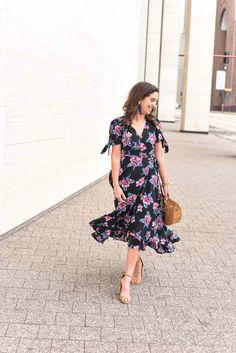 Floral Wrap Ruffle Hem Maxi Dress
