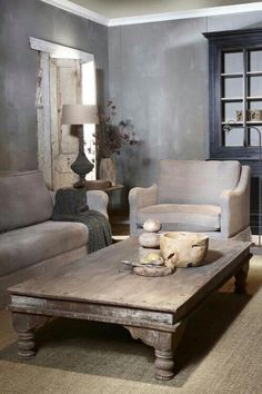 This coffee table. Perfect color for my living room. Casa Loft, Living Spaces, Living Room, Interior Decorating, Interior Design, Gray Interior, Decorating Ideas, Home And Deco, Rustic Interiors