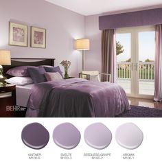 Purple master bedroom, purple paint colors, bedroom colour palette, b Purple Master Bedroom, Purple Bedroom Decor, Best Bedroom Colors, Bedroom Color Schemes, Home Decor Bedroom, Living Room Decor, Colors For Bedrooms, Dark Purple Bedrooms, Small Bedroom Paint Colors
