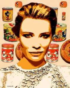 Original Pop Culture/Celebrity Painting by Acqua Luna Cate Blanchett, Pop Art, Oil On Canvas, Canvas Art, Original Paintings, Original Art, Acrylic Spray Paint, Celebrity Portraits, Arte Pop