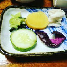 #Pickled #vegetables- #cucumber #green #leafy #vegetable #ginger #cabbage and #nasu (#japanese #aubergine or #brinjal)  #kaiseki #ryori #yummy #yummyinmytummy #latergram #Sanemon #Hinata #Shizuoka #Japan #travelgram #traveldiaries #foodporn #foodphotography #terracotta #vegan #vegetarian by ashimashenoy