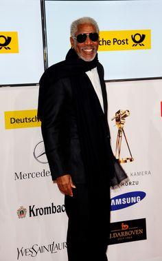 Morgan Freeman in Dolce   Gabbana at the 47th Golden Camera Awards in  Berlin. 96168eb5124
