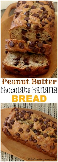 Peanut Butter Chocolate Banana Bread Recipe | whatscookingamerica.net 3 of my hubbys most fav.things