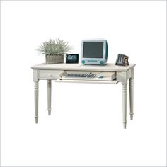Harbor View Collection Wood Writing Desk in Antique White - 158041