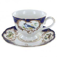 Royal Blue Bird Porcelain - Teacup and Saucer Set
