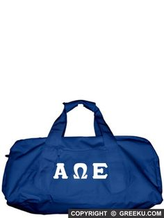 Alpha Omega Epsilon Polyester Duffel Bag with Sewn-On Letters