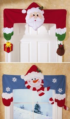 Decorative Holiday Door & Window Frame Huggers Wish I knew how sew Love theseDecoration for holiday seasonSo cute - I love adding special Christmas decorations all through the house.Collections Etc.: Product Page Christmas Sewing, Felt Christmas, All Things Christmas, Winter Christmas, Christmas Home, Christmas Ornaments, Christmas Projects, Holiday Crafts, Holiday Ideas