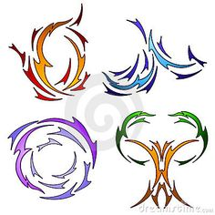 The four elements rendered in tattoo style-Jodi