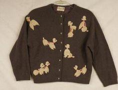 Vintage Rockabilly 1950's Wool Poodle Sweater by Elsie Tu Size Small