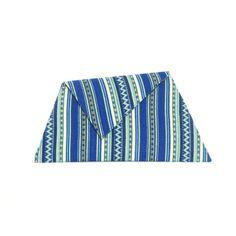 Blue Wool Asymmetric Clutch Bag by Georgina