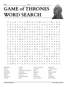 Game of Thrones Word Search
