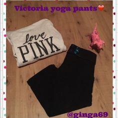 Victoria Secret yoga pants❤️ Victoria Secret Capri yoga pants size Medin great shape with bling rainbow letters. PINK Victoria's Secret Pants Capris