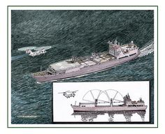 merchant marine sea lift command conceptual drawing for new loading booms, folding lifting booms, commercial shipping transport, sea going freighter, deep ocean maritime ship, sea-king helicopters, sea-lift command merchant marine,