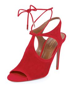S0ACB Aquazzura Joanna Cutout Wrap-Around Ankle Bootie, Red