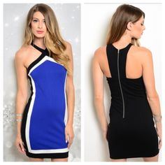 """HPBlue/ black dress Blue/ black dress  Availability- S•M•L • 2•2•2 S: L 35"""" B 30""""• M: L 35"""" B 32""""• L: L 35"""" B 34"""" Materials: 67.5% rayon/28.5% nylon/4% spandex. This is a form fitting dress that has a little bit of stretch to it. Zipper closure in the back. The dress is thick and not sheer.  NWT. Brand new with tags. Price is firm unless bundled. No tradesHP by charming_mhel  Boutique Dresses"""