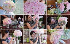 Buchet de hortensie roz cu orhidee dendribium. Filmarea integrala se gaseste pe Dvd-ul cu tutoriale despre realizarea buchetelor de mireasa. Gypsophila