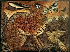 A selection of handcoloured drypoints woodcuts and etchings showing hares birds and animals.